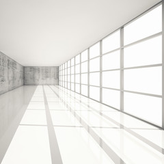 3d white interior with bright windows and concrete walls