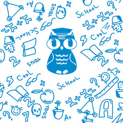 owl student pattern. back to school pattern