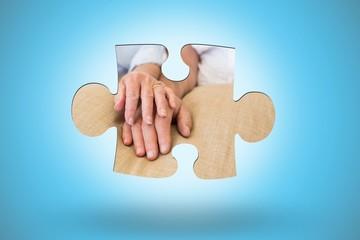 Composite image of jigsaw piece