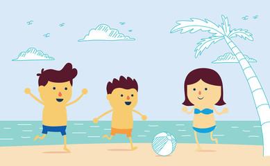 Happy Family play ball on the beach