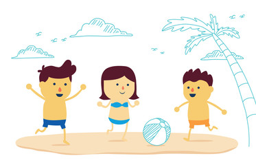 Three kids boy be have boy and girl fun with play beach ball