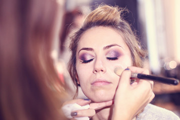Beautiful woman at make up studio