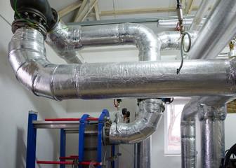 New pipeline on ceiling In boiler
