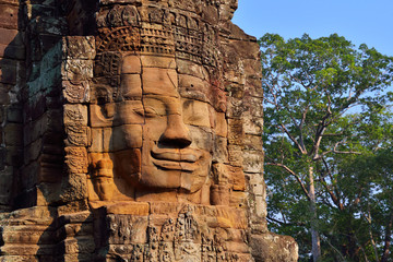 Faces of Bayon, Ancient Temple in Siem Reap, Cambodia.