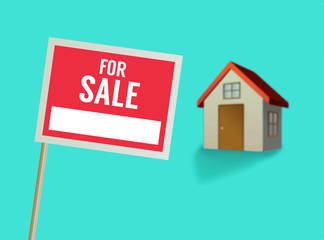 For sale sign and house vector