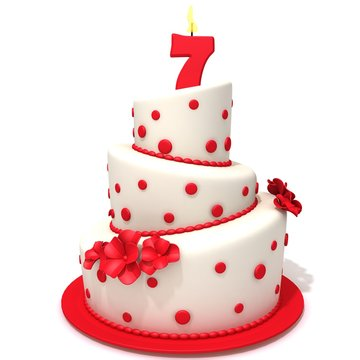 Birthday cake with number seven