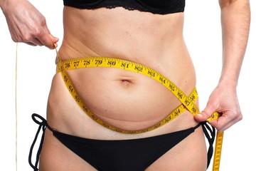 Woman measuring fat abdomen.