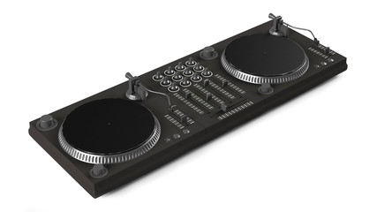 Wide DJ mixer with two vinyls isolated at the white background