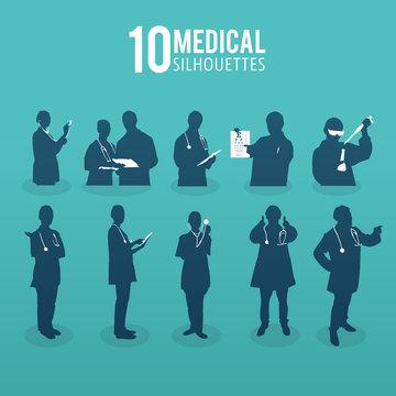 Ten medical silhouettes vector