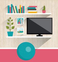 Living room interior. Tv and book shelves.