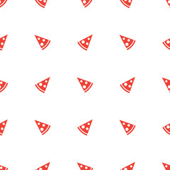 Vector geometric minimalistic orange pizza piece seamless