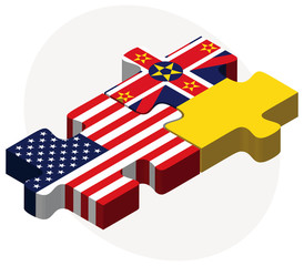 USA and Niue Flags in puzzle