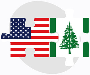USA and Norfolk Island Flags in puzzle