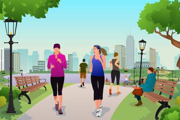 Women running in a park