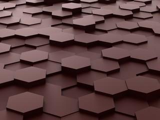 background of 3d brown hexagon blocks