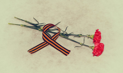 Carnation flowers and George Ribbon - a symbol of the Victory
