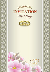 Wedding card with rings and flowers