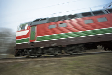 Railway locomotive motion blur