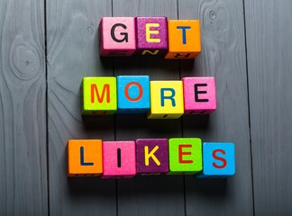 Facebook. Get More Likes card with colorful background with