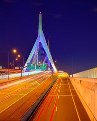 Wall Mural - Boston Zakim bridge sunset in Massachusetts