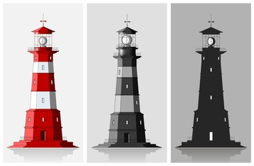 Lighthouses. Set of of large lighthouses over grey background