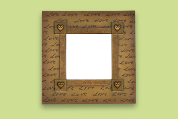 Frame with love written on
