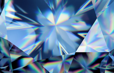 3d abstract blue crystal background, faceted glass wallpaper