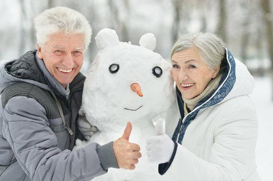 Senior couple in winter