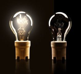 Light bulbs isolated on black background