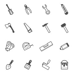 Vector construction and repair tool icon set