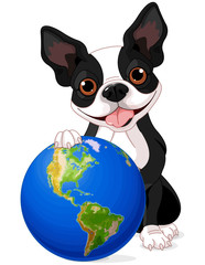Photo on textile frame Fairytale World Boston Terrier Earth Day