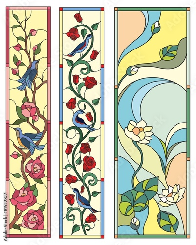 Stained Glass Window Flowers Birds Folk Stock Image And Royalty