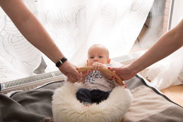 newborn baby in the basket.