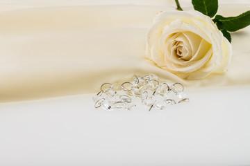 Crystal, white rose on ivory silk satin