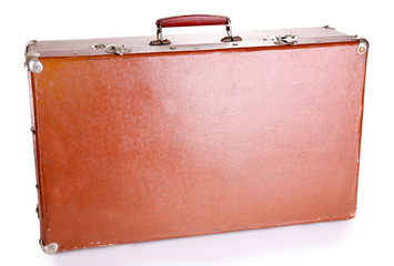 Brown suitcase on gray background