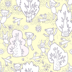 Seamless pattern. Image of cheerful cute cartoon forest animals