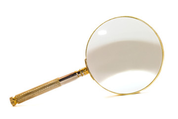 Metal magnifying glass isolated over white background