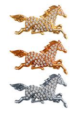 Изолированный Бриллиант Лошади Золото Серебро Бронза Богатство