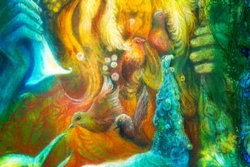Golden sun god, blue water goddess, fairy child and a phoenix bi