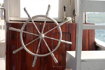 Steering wheel the boat
