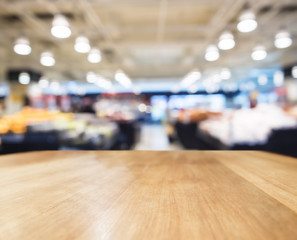 Table top counter with Blurred Supermarket Interior