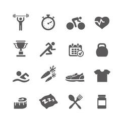Health and Fitness icons vector set icons with a stopwatch