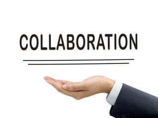 collaboration word holding by businessman's hand