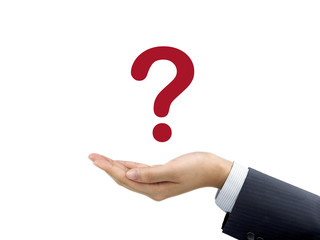 question mark icon holding by businessman's hand