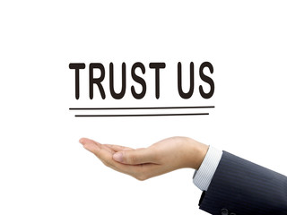 trust us words holding by businessman's hand