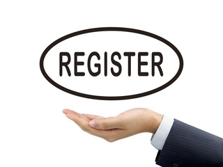 register word holding by businessman's hand