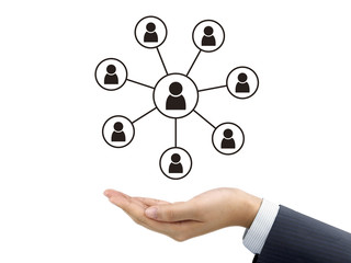social network concept holding by businessman's hand