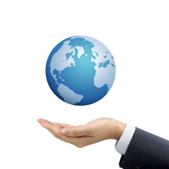 businessman's hand holding globe symbol