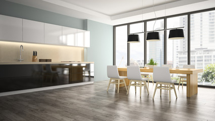 Part of interior dining room 3D rendering