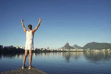 Athlete Standing Arms Raised Rio de Janeiro